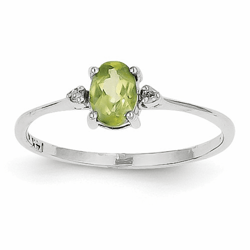 14k White Gold Diamond & Peridot Birthstone Ring Xbr221