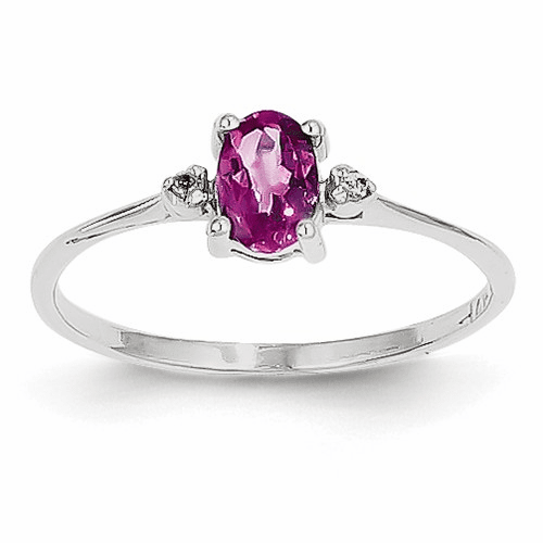 14k White Gold Diamond & Pink Tourmaline Birthstone Ring Xbr223