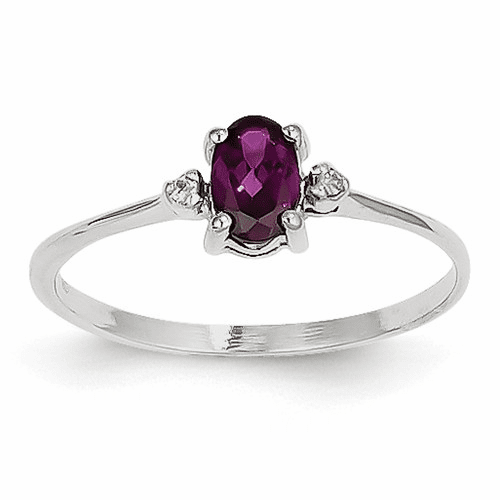 14k White Gold Diamond & Rhodolite Garnet Birthstone Ring Xbr219