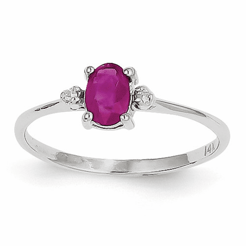 14k White Gold Diamond & Ruby Birthstone Ring Xbr220