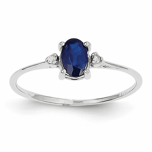 14k White Gold Diamond & Sapphire Birthstone Ring Xbr222