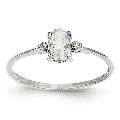 14k White Gold Diamond & White Topaz Birthstone Ring Xbr217