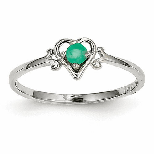 14k White Gold Emerald Birthstone Heart Ring Yc416