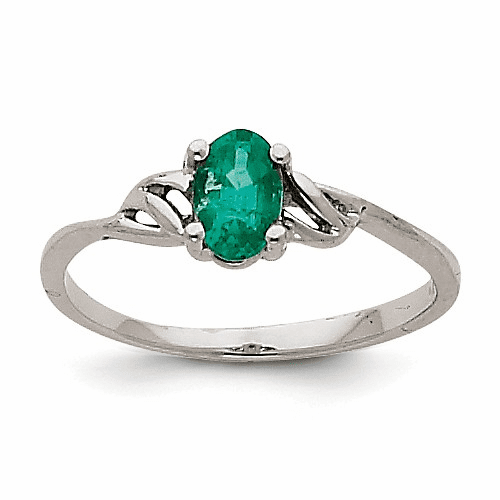 14k White Gold Emerald Birthstone Ring Xbr146