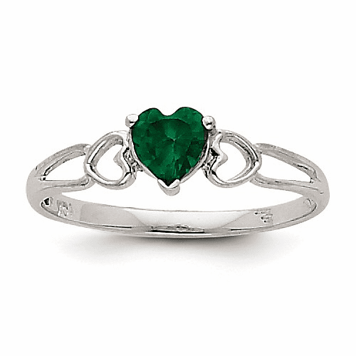 14k White Gold Emerald Birthstone Ring Xbr170