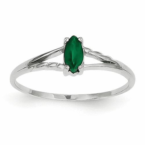 14k White Gold Emerald Birthstone Ring Xbr194