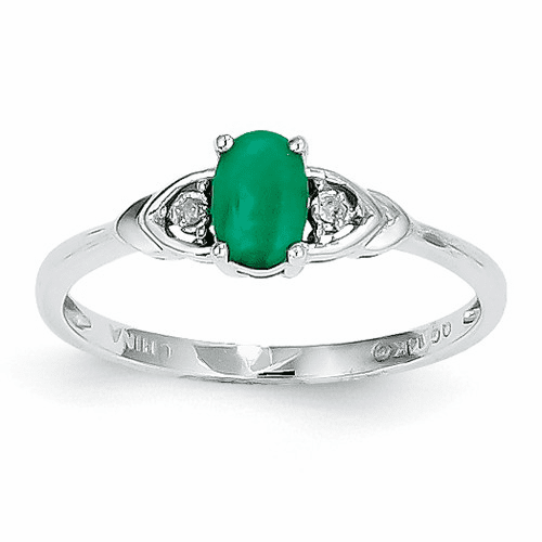14k White Gold Emerald Diamond Ring Xbs232