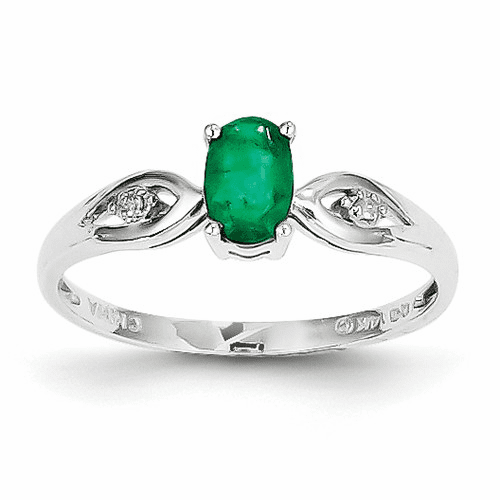 14k White Gold Emerald Diamond Ring Xbs304