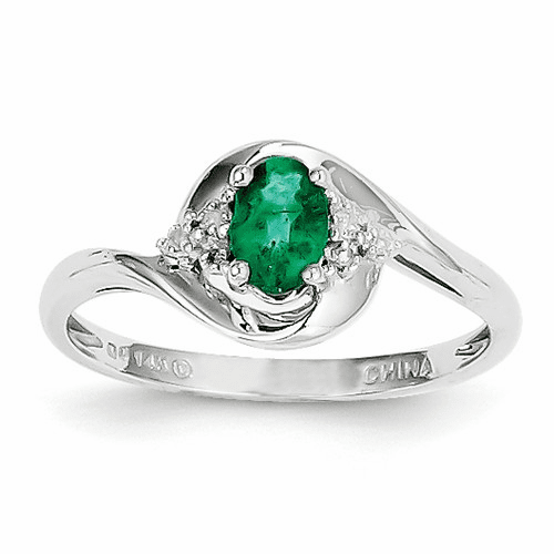 14k White Gold Emerald Diamond Ring Xbs376