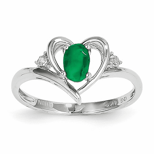 14k White Gold Emerald Diamond Ring Xbs448