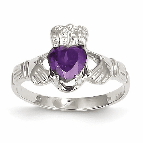 14k White Gold February Birthstone Claddagh Ring R500