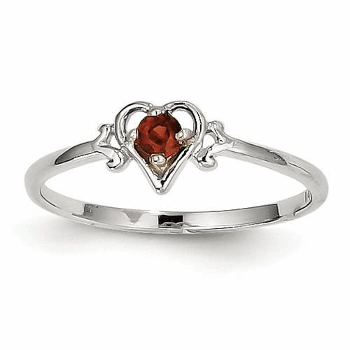 14k White Gold Garnet Birthstone Heart Ring Yc412