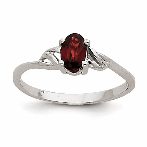 14k White Gold Garnet Birthstone Ring Xbr142