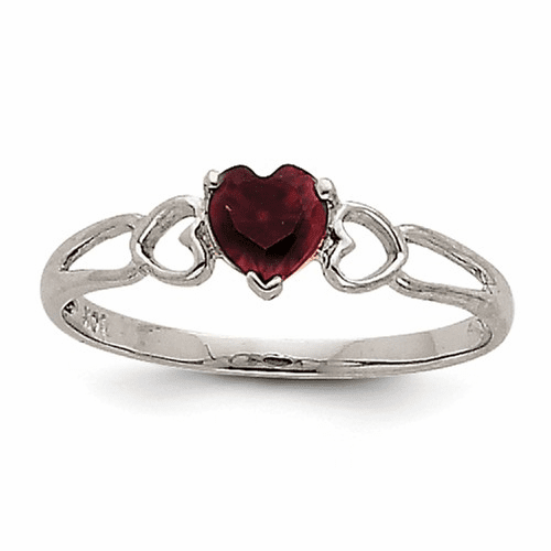 14k White Gold Garnet Birthstone Ring Xbr166