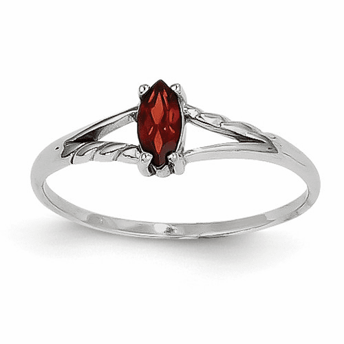 14k White Gold Garnet Birthstone Ring Xbr190