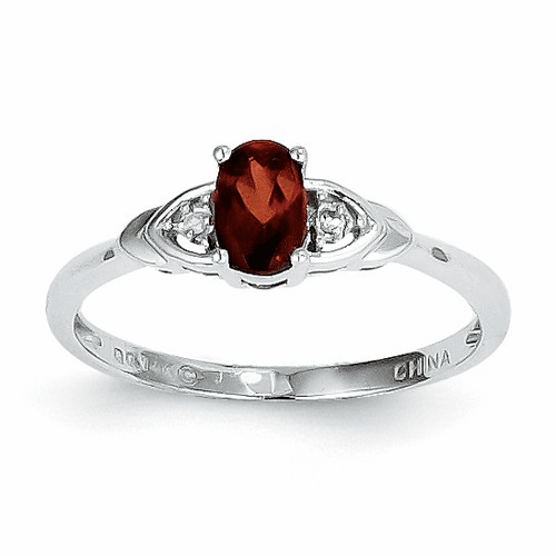 14k White Gold Garnet Diamond Ring Xbr418