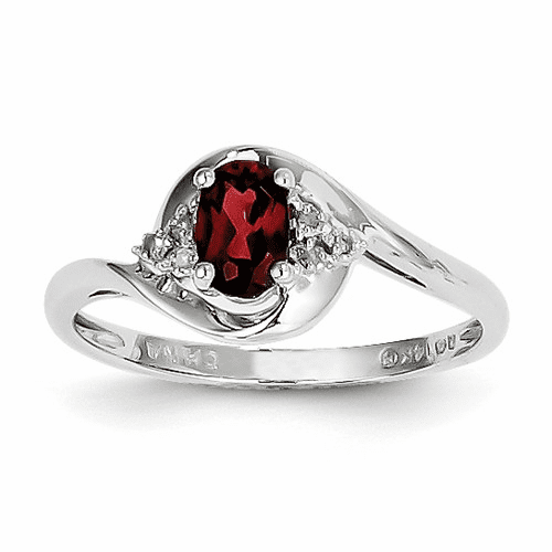 14k White Gold Garnet Diamond Ring Xbs368