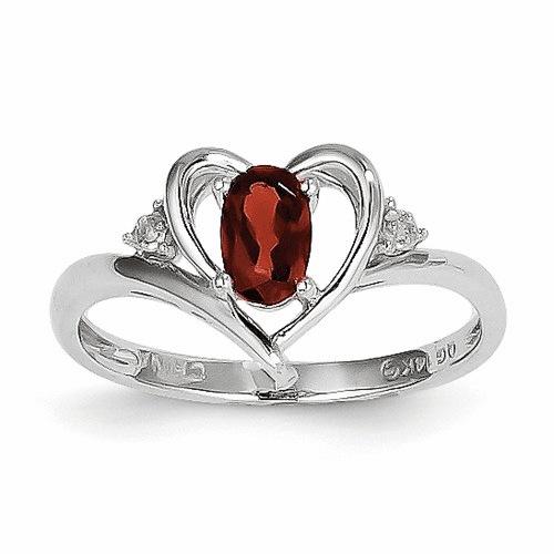 14k White Gold Garnet Diamond Ring Xbs440