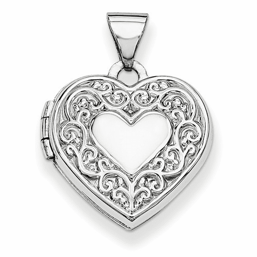 14k White Gold Heart Locket Xl185
