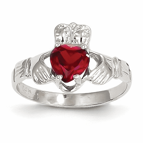 14k White Gold January Birthstone Claddagh Ring R499
