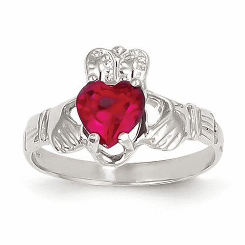 14k White Gold July Birthstone Claddagh Ring R505