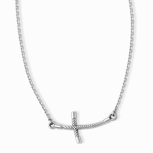 14k White Gold Large Sideways Curved Twist Cross Necklace Sf2089-19