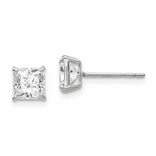 14k White Gold Madi K 5mm Square Cz Post Earrings Se1919