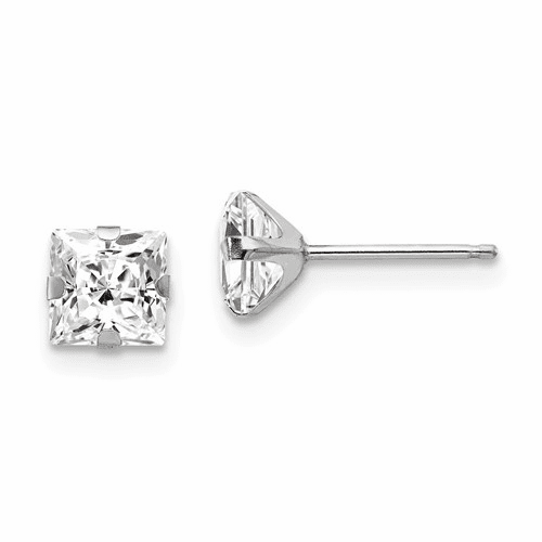14k White Gold Madi K 5mm Square Cz Post Earrings Se506