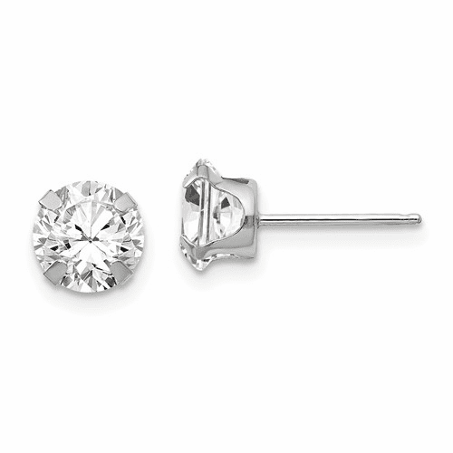 14k White Gold Madi K 6.5mm Cz Post Earrings Se286