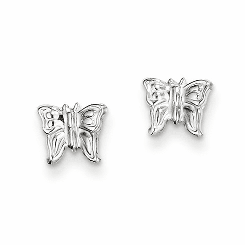 14k White Gold Madi K Butterfly Earrings Se1448