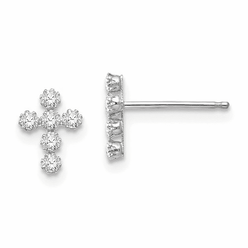 14k White Gold Madi K Cz Cross Post Earrings Se759