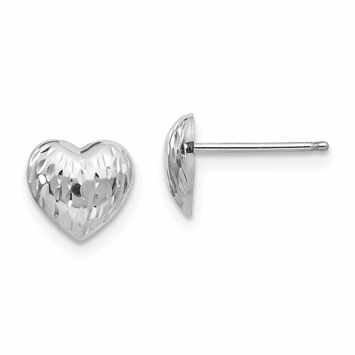 14k White Gold Madi K Diamond-cut Heart Earrings Se436