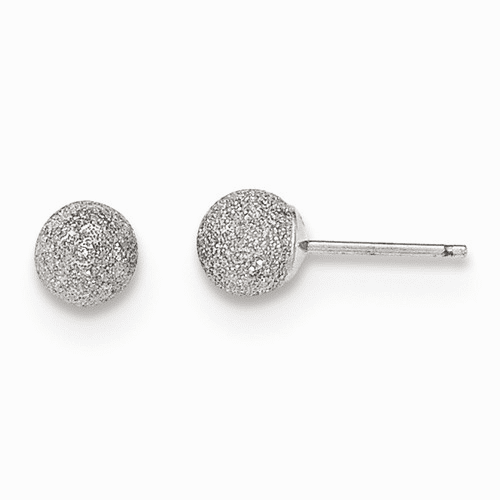 14k White Gold Madi K Laser Cut 5m Ball Post Earrings Se2482