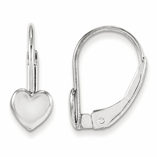14k White Gold  Madi K Leverback Heart Earrings Gk252