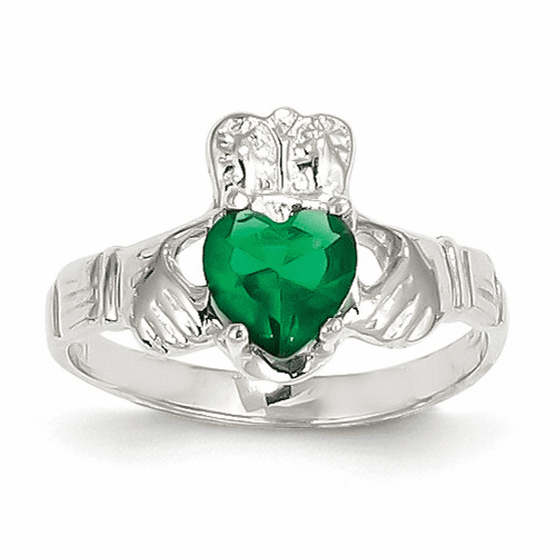 14k White Gold May Birthstone Claddagh Ring R503