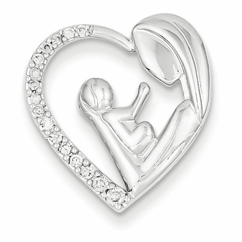 14k White Gold Mother And Baby Diamond Heart Slide Xp3088aa