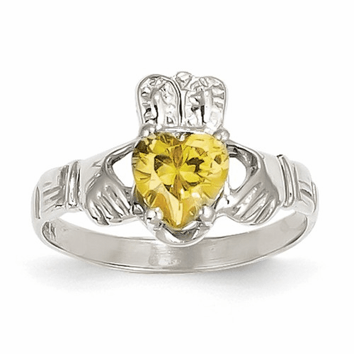 14k White Gold November Birthstone Claddagh Ring R509