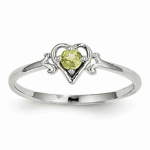 14k White Gold Peridot Birthstone Heart Ring Yc419