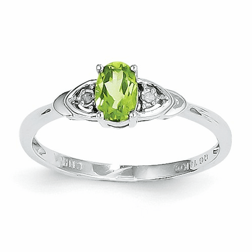 14k White Gold Peridot Diamond Ring Xbs245