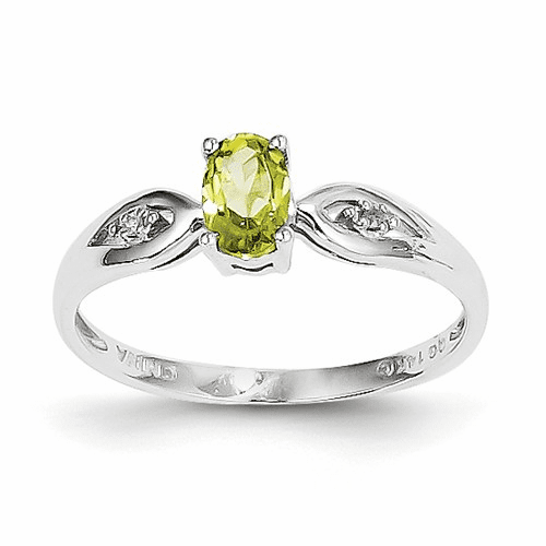14k White Gold Peridot Diamond Ring Xbs317