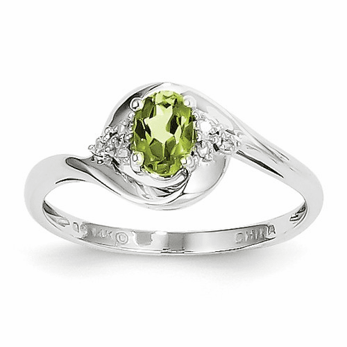 14k White Gold Peridot Diamond Ring Xbs389