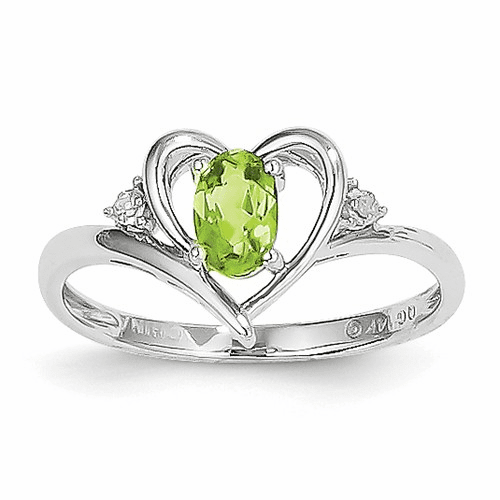 14k White Gold Peridot Diamond Ring Xbs461