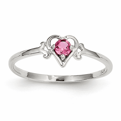 14k White Gold Pink Tourmaline Birthstone Heart Ring Yc421