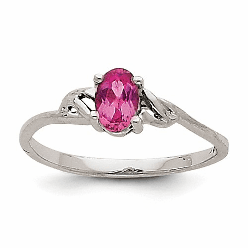 14k White Gold Pink Tourmaline Birthstone Ring Xbr151