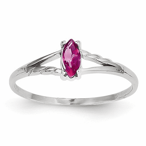 14k White Gold Pink Tourmaline Birthstone Ring Xbr199