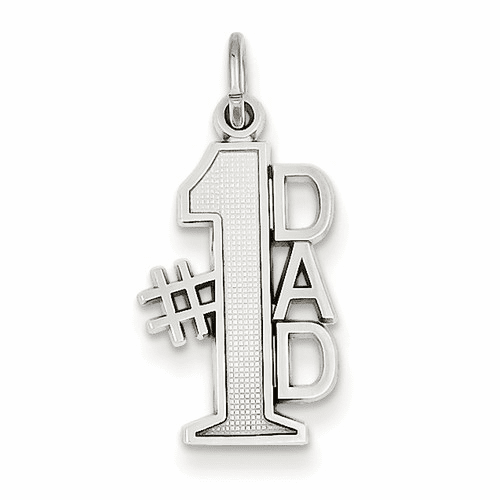14k White Gold Polished #1 Dad Charm D1088