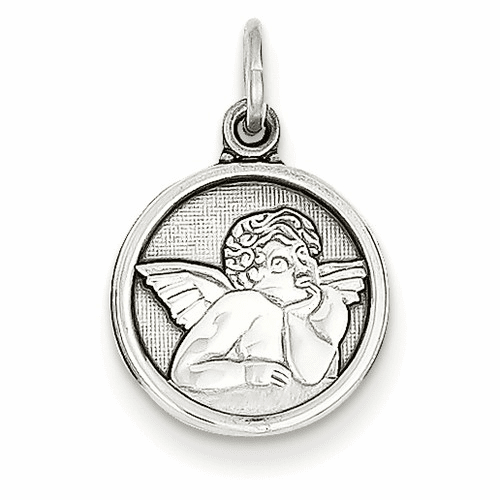 14k White Gold Polished Angel Charm D1508