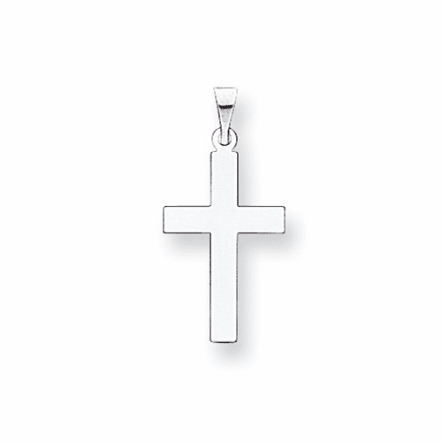 14k White Gold Polished Cross Pendant Xwr13