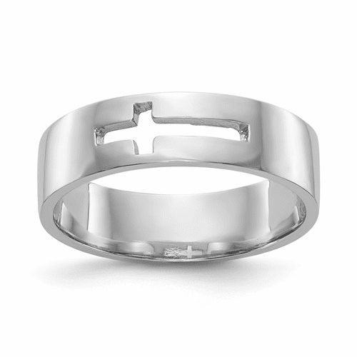 14k White Gold Polished Cut-out Cross Men's Ring K5739