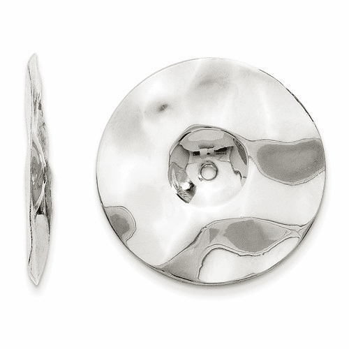 14k White Gold Polished Hammered Disc Earring Jackets H720j